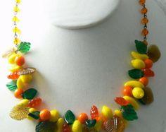 Vintage Glass Fruit Salad Necklace