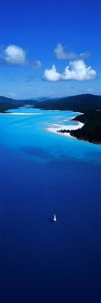 Beautiful estuary - one lone yacht - North East Coast - by remowned photographer of Australia Ken Duncan