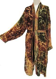Floral Burnout Silk Velvet Kimono Duster Harvest Gold Olive Green Amber