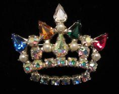 """Amazing Vtg 1-1/2"""" Signed B David Silver Tone Rhinestone Crown Brooch A61"""
