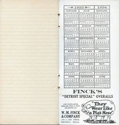 "Finck's ""Detroit Special"" Pocket Memo Book (Inside), 1923-24"