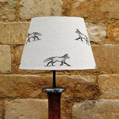 Foxy Loxy on Cream Linen French Tapered Light Shade, fabulously unique designs www.serendipityhomeinteriors.com
