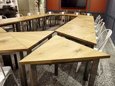 Triangular Tables Cafe Furniture, Bespoke Furniture, Breakout Area, Contract Furniture, Architectural Salvage, Cafe Design, Floor Design, Dining Table, Creative