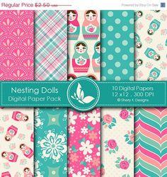 Nesting Dolls Paper Pack - 10 Printable Digital Scrapbooking papers - 12 x12 - 300 DPI.    via Etsy.