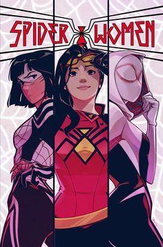 Silk, Spider-Woman & Spider-Gwen in Spider-Women Alpha Gwen Spider, Spider Girl, Spider Women, Spider Gwen Cosplay, Marvel Dc Comics, Marvel Heroes, Marvel Avengers, Marvel Women, Marvel Girls