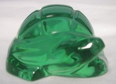 Baccarat Green Crystal Art Glass Turtle by LazyDogAntiqueStore