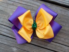 Big Mardi Gras Bow Purple Yellow Gold and by ransomletterhandmade Katy, Texas