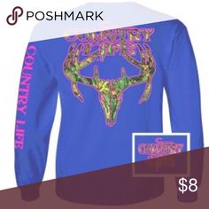 Country Life Blue Long Sleeve Tee Unisex Long Sleeve Country Life Camo Skull Tee (this one is not new like my other listings) Tops Tees - Long Sleeve