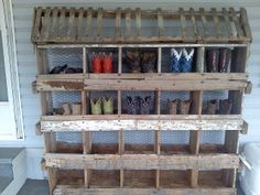 Boots displayed in chicken nesting boxes