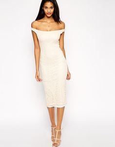 Brand New ASOS Bardot Lace Midi Bodycon Dress In Beautiful Cream  #ASOS #StretchBodycon #Formal