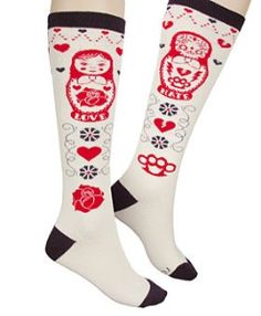 Love/Hate Russian Nesting Doll Knee Socks