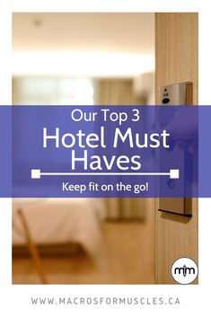 Staying healthy and on track while traveling can be hard! Read about our top 3 favorite items we always take to our hotel rooms! Keep Fit, Stay Fit, Stay On Track, Digital Nomad, How To Stay Healthy, Must Haves, Traveling, Muscle, Wellness