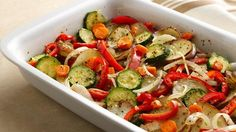 Roasted Mixed Veggies ... this recipe uses red potatoes, onions, carrots, red bell peppers & zucchini, but you can add or substitute your favorite veggies @Pillsbury