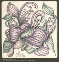 """Sharla-Rella Series with Mooka by Sharla R. Hicks, Certified Zentangle Teacher, © 2012. 3.5"""", Zentangle Tile, Micron Pigma Pen & Watercolor Pencil by via Flickr"""