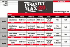 Insanity Max 30 Workout Calendar - Ab Maximizer