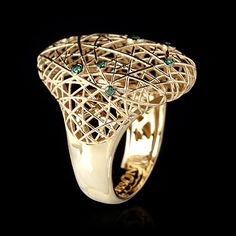 Mousson atelier, collection Rolling Stones, ring, Yellow gold 750, Tsavorites