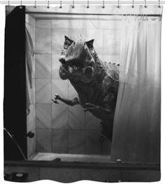 realistic dinosaur shower curtain