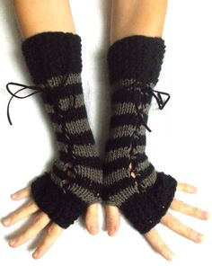 Fingerless Gloves Women Long Corset Wrist Warmers Black Taupe Brown White with Suede Ribbons Victorian Style Hand Knit by LaimaShop on Etsy Looks Style, Looks Cool, My Style, Pretty Outfits, Cool Outfits, Fashion Outfits, Estilo Punk Rock, Fingerless Gloves Knitted, Wrist Warmers