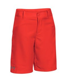 Under Armour Boys' UA Medal Play Shorts XL (18-20 Big Kids) BOLT ORANGE. Soft, ultra-lightweight woven fabric, built for durability & comfort. Moisture Transport System wicks sweat & dries fast. Flat-front, 3-pocket design with working fly. Stretch-engineered waistband with adjustable inner elastic for a perfect fit. Inseam: YMD 9 (+/- 1 per size).