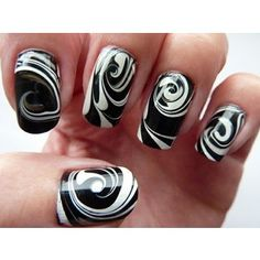 Nails / Black & White Water Marble Swirl Nail Art | Flickr : partage de photos !