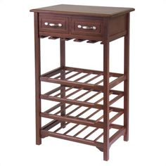 Winsome Antique Walnut Wine Rack with 2 Drawers