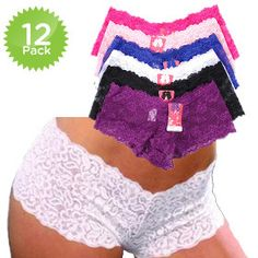 12-Pack: Floral Lace Boy Short Panties by Kali & Wins