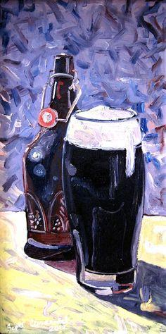 Beer Art Print of Homebrew Dark Ale Bottle and Glass, $45.00