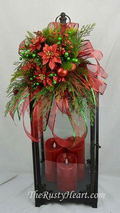 Large Christmas Lantern Swag with Poinsettias by TheRustyHeart Christmas Towels, Christmas Lanterns, Christmas Centerpieces, Xmas Decorations, Christmas Art, Christmas Projects, Christmas Holidays, Christmas Ornaments, Christmas Floral Arrangements