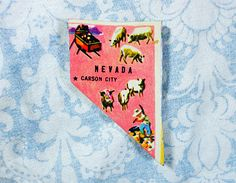 Nevada State Map Magnet- Upcycled 1950's Midcentury United States Map Puzzle