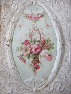 OMG Original Christie Repasy Oil Painting Basket Pink Roses on Old Ceiling Tin | eBay