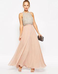 3d52e89d5765 ASOS Embellished Crop Top Maxi Dress Mieder, Gewebe, Abschluss, Verzieren,  Abendkleid,