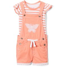Nannette Kids Coral Stripe Angel-Sleeve Top Shortalls Toddler Girls ❤ liked on Polyvore featuring baby girl