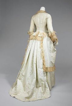 ca.1875-1880 Tea Gown ,Medium Silk moire. With ecru cotton lace trim.