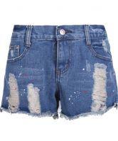 #sheinside  Blue Pockets Ripped Denim Shorts $23.39