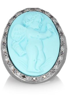 Amedeo|Oxidized sterling silver, turquoise and diamond cameo ring|NET-A-PORTER.COM