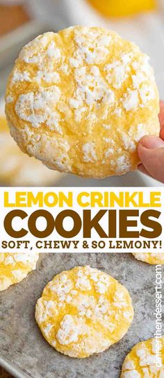 Lemon Crinkle Cookies flavored with fresh lemon juice and lemon zest are soft, sweet, and PERFECT for making ahead of time and pulling out when you need them! Lemon Desserts, Köstliche Desserts, Delicious Desserts, Yummy Food, Make Ahead Desserts, Baking Recipes, Cookie Recipes, Lemon Recipes Easy, Lemon Crinkle Cookies