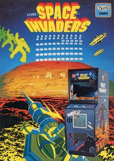 A promotional flyer for Space Invaders, an arcade video game developed by Tomohiro Nishikado and released in 1978 Vintage Video Games, Classic Video Games, Retro Video Games, Vintage Games, Space Invaders, Pac Man, Sega Genesis, Game Boy, Bartop Arcade