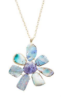 "18 K Yellow Gold Boulder Opal And Tanzanite Gemma Flower Necklace On 30"" Chain by LAUREN K for Preorder on Moda Operandi #opalsaustralia"