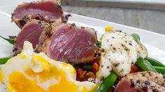Olive and Rice Cracker-Crusted Tuna with Niçoise Salad