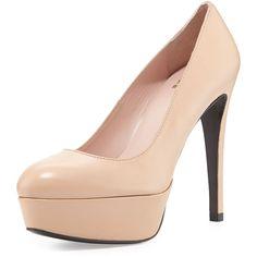 Stuart Weitzman Mae Patent Leather Platform Pump (604 CAD) ❤ liked on Polyvore featuring shoes, pumps, heels, adobe, stuart weitzman pumps, heel platform shoes, almond toe pumps, high heel shoes and patent leather pumps