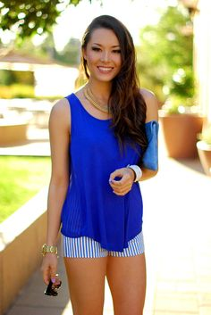 #Heart, #Lace, #Striped #apparel - Blue Stripes