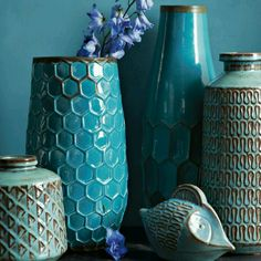 Inspired by mid-century ceramics, natural earthenware peeks through the rich blue glaze of these Geometric Vases, making their graphic patterns pop. Turquoise Room, Shades Of Turquoise, Turquoise Bathroom, Bathroom Colors, Teal Blue, Living Room Grey, Living Room Decor, Grey Room, Grey Bedroom With Pop Of Color