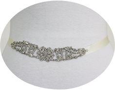 TRISHA  Vintage Inspired Crystal Bridal Sash by HannabellaDesigns