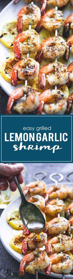 Easy Grilled Lemon Garlic Shrimp | Creme de la Crumb