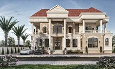 Country Villa on Behance House Outside Design, House Front Design, Classic House Exterior, Dream House Exterior, Sims House Plans, New House Plans, Architectural Design House Plans, Architecture Design, Architectural Drawings