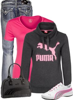 Puma outfit so cute Sporty Outfits, Mode Outfits, Winter Outfits, Fashion Outfits, Fashion Trends, Fashion Ideas, New York Fashion, Love Fashion, Womens Fashion