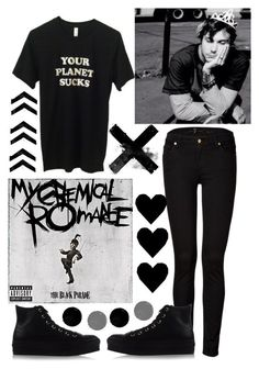 """""""All Black Tag - with Frank Iero"""" by audrey-panda ❤ liked on Polyvore featuring Paul Frank, 7 For All Mankind and Converse"""