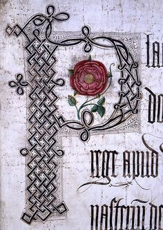 Lancastrian Rose -- Coram Rege Roll of Henry VII. The roll records court proceedings that were supposed to be carried out before the king in person (coram rege), although that was rarely true. Tudor History, British History, Illuminated Letters, Illuminated Manuscript, Rosa Gallica Officinalis, Los Tudor, Elizabeth Of York, King Henry Viii, Tudor Rose