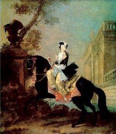 Catherine II de Russie en amazone. -Catherine II chasse de Crimée les Turcs et confie à Potemkine le soin de russifier les steppes méridionales. Alors naissent Ekaterinenbourg, Odessa, Sébastopol en même temps que se crée le commerce sur la Mer Noire. L'impératrice consacre à son travail un temps considérable, mais elles sait en garder pour correspondre avec les meilleurs esprits du temps, lire et développer ses connaissances.