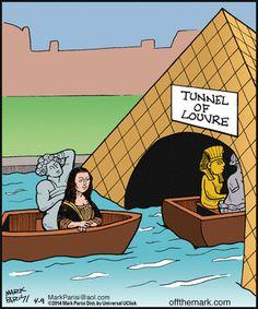 Tunnel of Love Bizarro Comic, Funny Cartoons, Cartoon Humor, Mona Lisa Parody, Tunnel Of Love, Classic Artwork, Scrooge Mcduck, Funny Art, Comic Strips